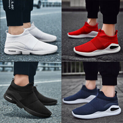 Mens Teens Pumps Mesh Trainers Slip On Sneakers Breathable Shoes Sizes UK