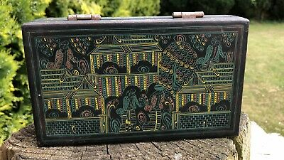 Beautiful Antique Vintage Papier Mache Rectangle Chinese Oriental Decorative Box