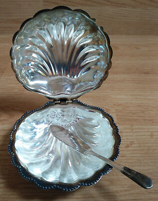 Calm Shell Butter Dish Glass Liner Insert Sm Knife Hinged Scallop Silver Plated