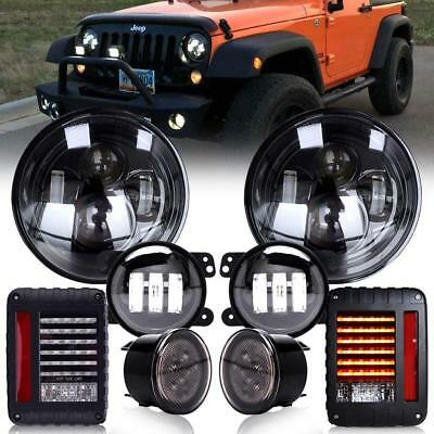 LED Halo Headlights+Fog Turn Signal + Tail Light For Jeep Wrangler JK 2007-2017