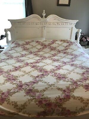 Vintage Lightweight Summer Blanket Cotton Pink Roses Shabby Cottage Chic French