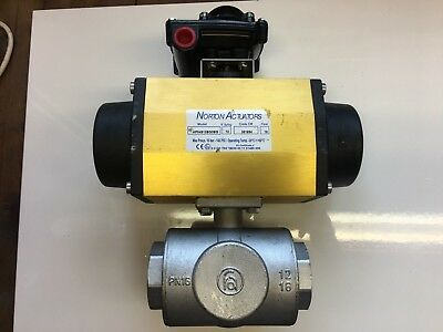 """Pneumatic Actuated Ball Valve  2""""   3 Way  With Limit Switch Indicator."""