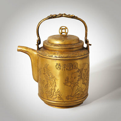 Exquisite Chinese Bronze Teapot Gold Bronze Handcarved Birthday Gift Home Decor