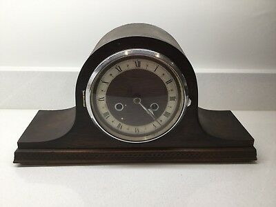 Vintage Enfield Chiming Mantel Clock. Oak Surround. Pendulum. For Repair.