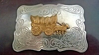 Chambers Belt Co. - Silver Nickle - Vintage Belt Buckle Old West Covered Wagon