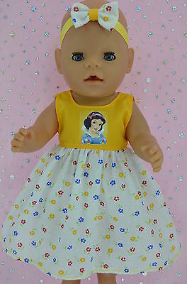 "Play n Wear Doll Clothes To Fit 17"" Baby Born YELLOW/FLORAL DRESS~HEADBAND"