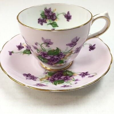 Grosvenor Bone China ENGLAND Cup And Saucer Pale Pink with Violets