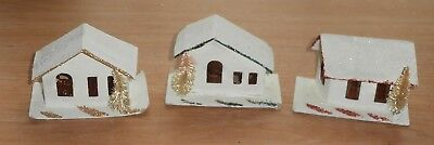 Lot of 3 Vintage Christmas Mica Snow Paper Houses for Lights With Brush Trees