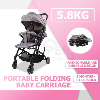 Portable Baby Stroller Bassinet Jogger Pram Seat Carry Easy Fold Compact Travel