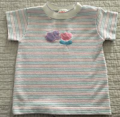 Vintage Healthtex Toddler Girl Bird & Tulip Striped Short Sleeve Shirt Size 4T
