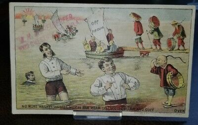 Vintage 1880s Trade Card Waterproof Linen Chinese chinamen STEREOTYPE  laundry