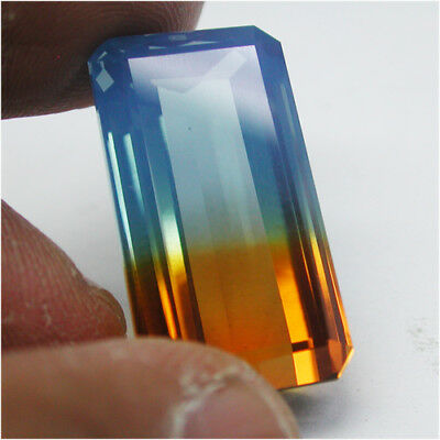 Excellant!37.00ct Bi-Color Sky Blue&Golden Yellow Ametrine Quartz Octagon Cut