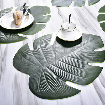1PC Monstera Shape Table Mat PVC Tropical Leaf Placemat Dining-table Decorations