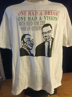 Vintage Malcolm X MLK t-shirt rare paper thin single stitch 90s