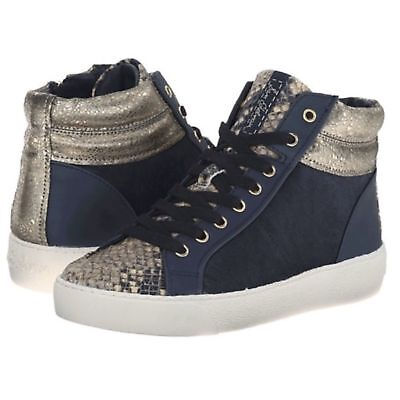 42c85f155405fc Sam Edelman Britt High Top Sneaker Navy Blue Real Dyed Cow Fur w  Snake Skin