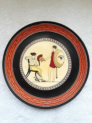 """Older Hand Painted Greek Athens National Museum 91/4"""" Plate """"soldiers Farewell"""""""