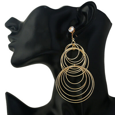 2 Pcs Circle Big Earrings Women Gold Hoop Round Jewelry Fashion Stud Ear G