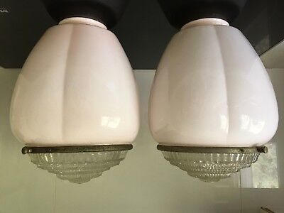 Pair of large dusty pink Art Deco bulb shape lights with diffusers