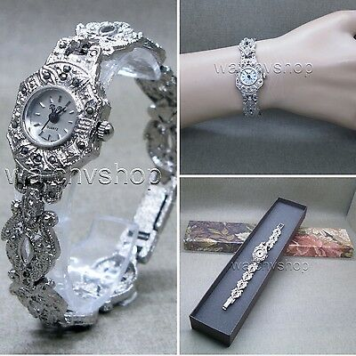 Womens Vintage Marcasite Crystal Silver Tone Brass Bracelet Classic Watch LM01