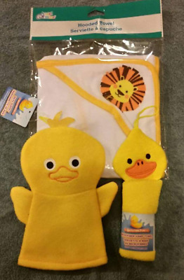 infant bath set yellow ducks & lion hooded towel,duck washcloths and hand puppet