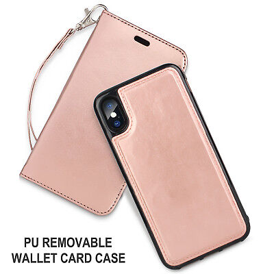 Luxury Magnetic Detachable PU Leather Wallet Case Cover For iPhone X 10 8 7 Plus