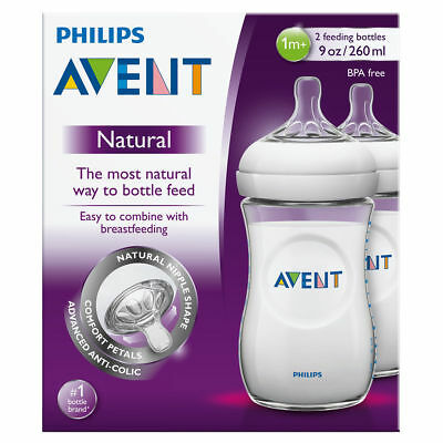 Philips AVENT Natural Milk Feeding Baby Bottles 260ml 2 Pack