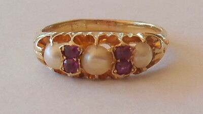 Enchanting Antique Edwardian 18ct gold ring with rubies and pearls, sz 7, 3.56 g