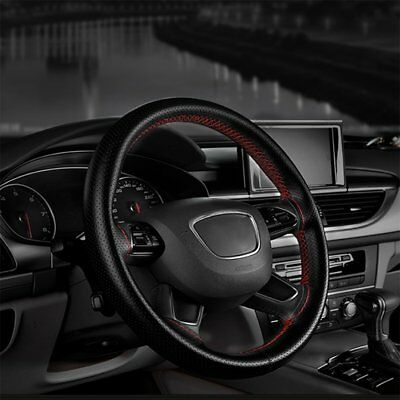 DIY PU Leather Car Auto Steering Wheel Cover With Needles Thread Black New FK