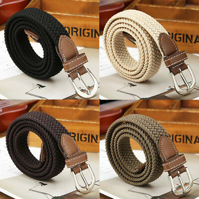 Men's Stretch Braided Elastic Woven Canvas Buckle Belt Waistband Casual Knitting