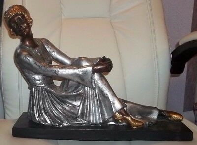 LARGE VINTAGE ART DECO LADY FIGURINE STATUE gold/silver/bronze