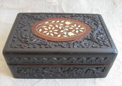 hand carved WOODEN BOX Inlay decoration to lid, purple felt lined India / Indian