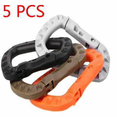5Pcs Plastic Clip Hook D-Ring Snap Outdoor Carabiner Camping Buckle Key Chain