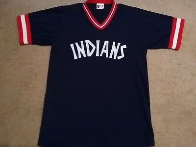 Vintage 1977 MLB Cleveland Indians Authentic Throwback Road Navy Blue Jersey  S M 3fa1c7d75