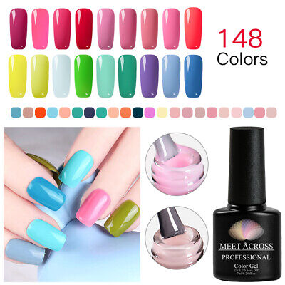 MEET ACROSS 148 Colors 7ml Nail Art Soak Off Gel Polish Manicure UV LED Lamp DIY