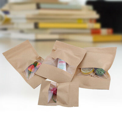 20pcs Kraft Paper Bags Zip lock Resealable Food Pouch Gift With Clear Window