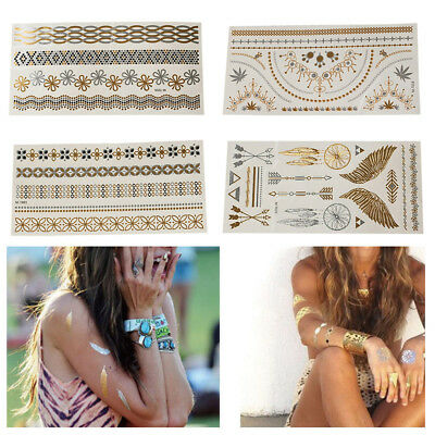 Removable Gold Temporary Tattoo Metallic Sliver Inspire Sticker Body Art