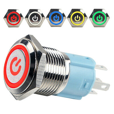 1pc 16mm Car Boat LED Power Self-Reset Push Button Metal Momentary Switch
