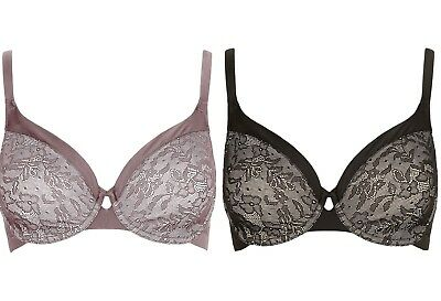 M&S Underwired Non Padded Full Cup Youthful Lift Smoothing Floral Lace Bra