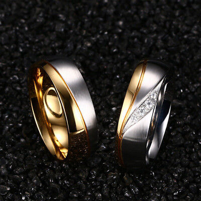 Couple Stainless titanium steel& 18K Gold Plated Wedding Ring Men Women AU