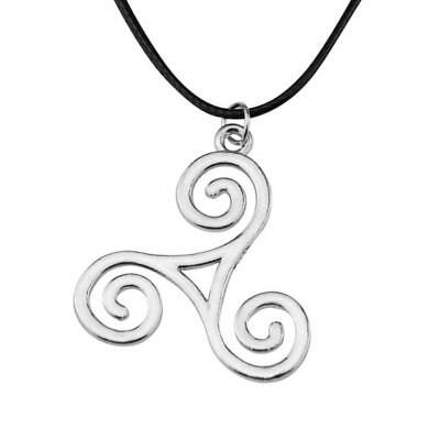 Triple Spiral Celtic Triskele Choker Pendant Necklace