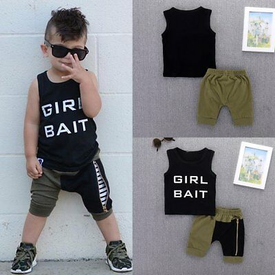 2pcs Summer Toddler Kids Baby Boys Outfits T-Shirt Tops+Shorts Pants Set Clothes