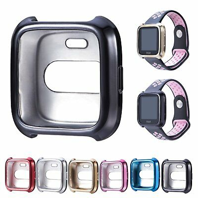 Metallic Silicone Case Cover Shell Protector For Fitbit Versa Smart Watch Band