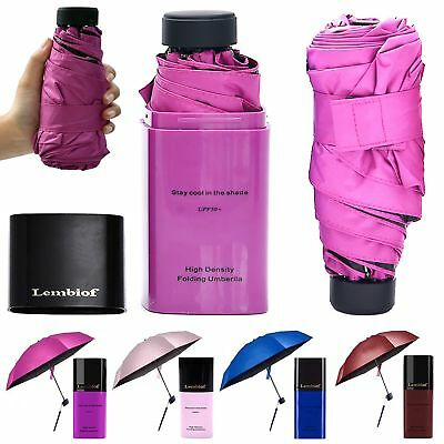 Lembiof Mini Travel Umbrella with Waterproof Case, 6 Ribs Finest