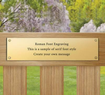 """Solid Memorial Brass Plaque 200x50mm - Engraved Plaque Bench Plate 4 holes 8x2"""""""