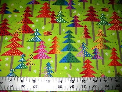 14 yard lime green red christmas tree gold metallic fabric quilting 100 cotton - Lime Green Christmas Tree