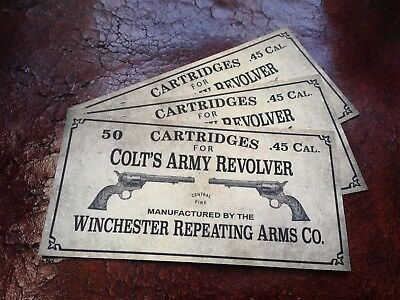 LABEL STICKER 45 Long Colt  ARMY REVOLVER ammo box cartridges old far west relic