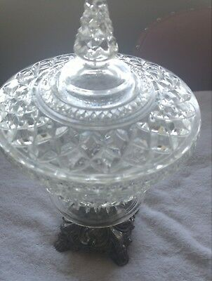 Nice crystal compote candy dish brass base nice piece for any antique lover