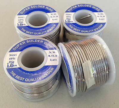 Solder 1.6mm 4 Rolls - (total 908g) - 60/40 Rosin Core (made in Taiwan) - New