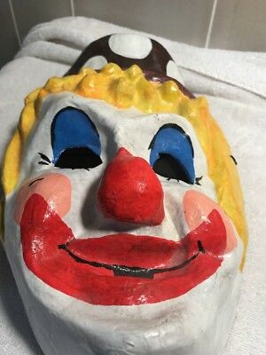 Scary Creepy Clown Halloween Mask Paper Mache Vintage Brown Dotted Hat Red Nose
