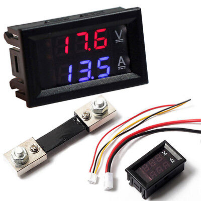 100v Voltmeter Ammeter Led Dual Display Digital Volt Amp Meter Gauge 10/50a/100a